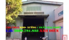 Cho thuê nhà xưởng đườngLiên Khu 4-5(bênh kia QL1A;đối diện trạm thu phí An Sương) quận Bình Tân(300m2)