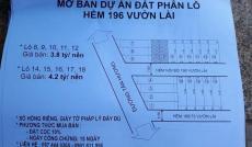 Bán đất 196 Vườn Lài (cafe Suối Reo) 4x11.5m, giá 4.9 tỷ, P. Tân Thành